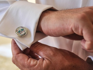 Day of the dead cuff links.