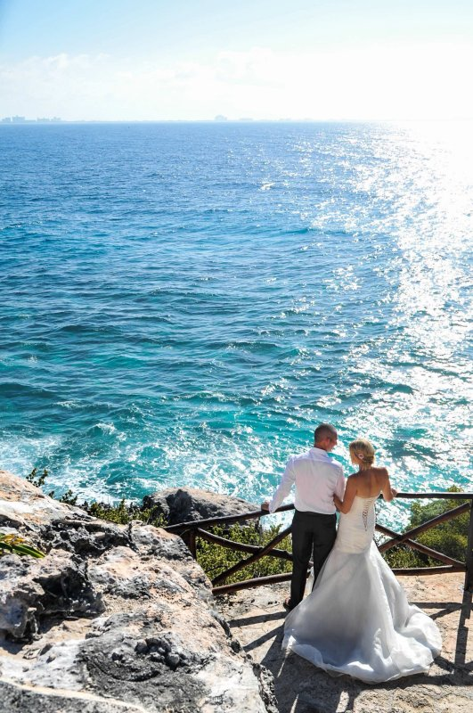 Bride and groom at southern end of Isla Mujeres