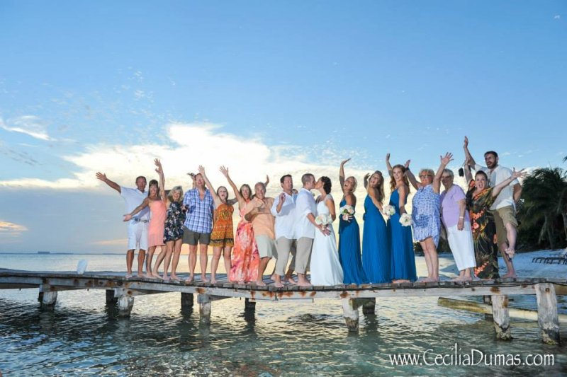 Wedding party on dock