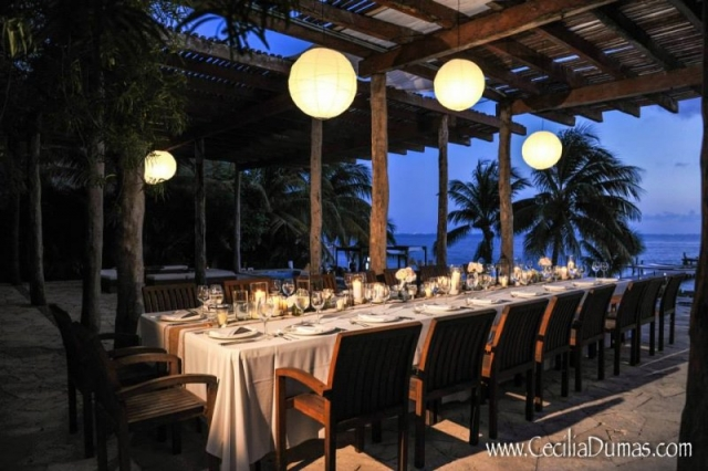 Table set for reception with ocean view