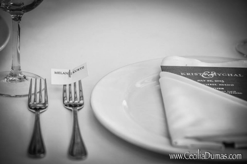 Close up of place setting on table