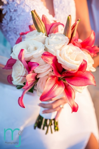 Bride's bouquet of white roses