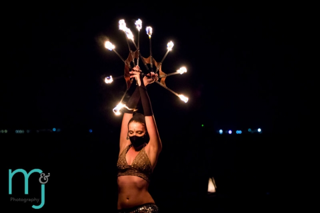 Fire dancer at wedding reception