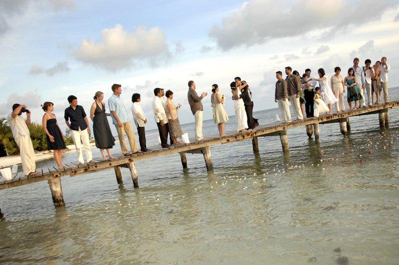 Wedding party on dock
