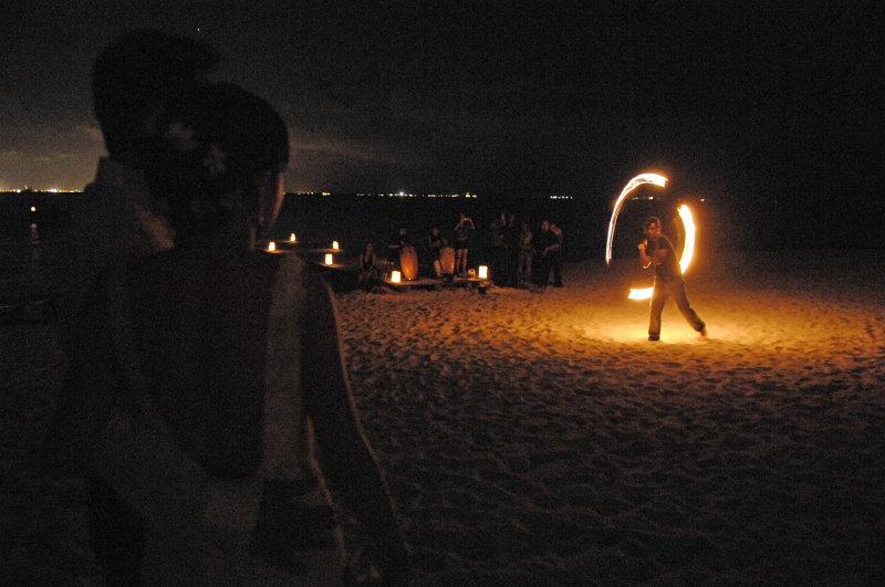 Fire dancer at reception