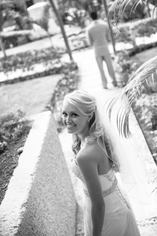 Bride looking up and smiling