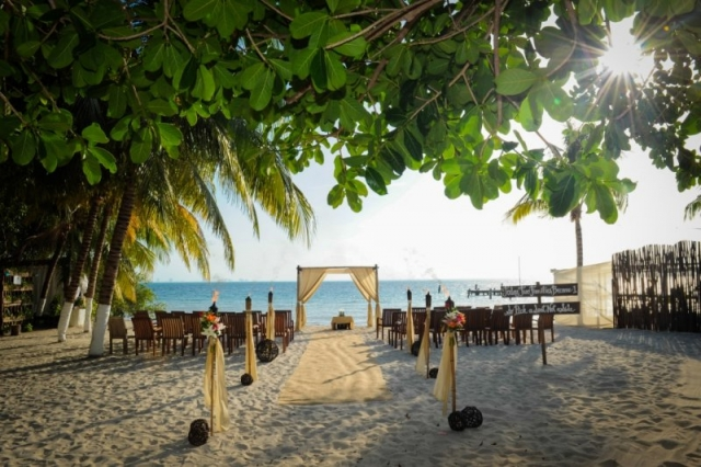 Wedding site on beach