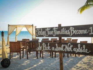 Sign: Today two families become 1; So pick a seat, not a side