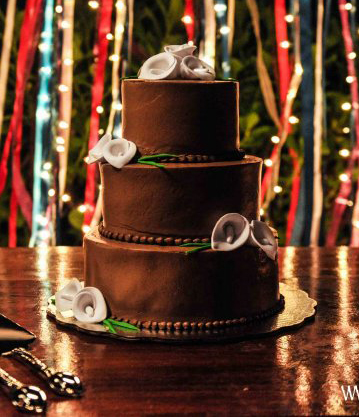 Chocolate tiered wedding cake