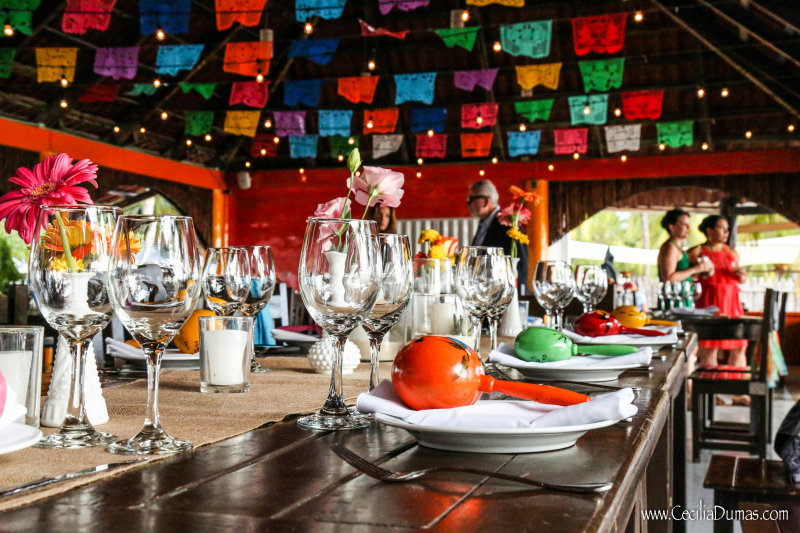 Colorful place settings for reception