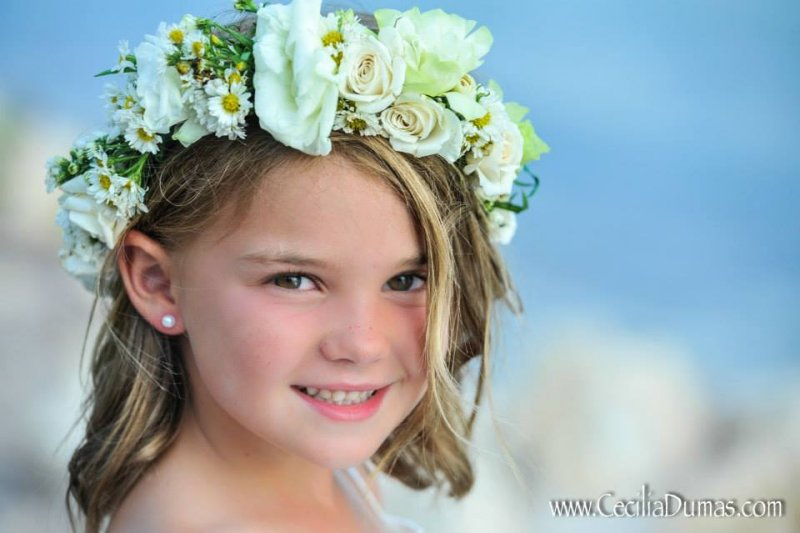 Flower Girl with Flowers in Hair