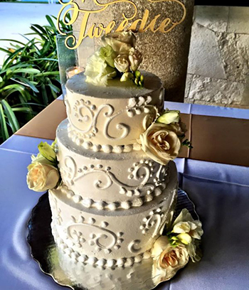 Cream-colored wedding cake