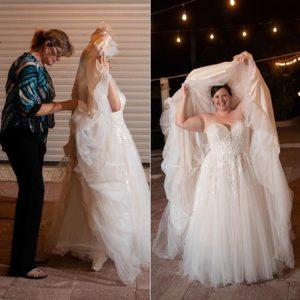 Busteling a wedding dress